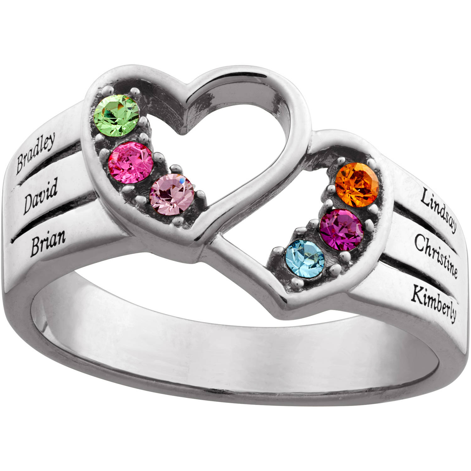 Personalized Women's Sterling Silver Family Name & Birthstone Double Heart Ring