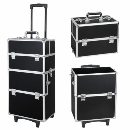 3 in 1 Pro Aluminum Rolling Makeup Case Cosmetic Trolley On Wheels