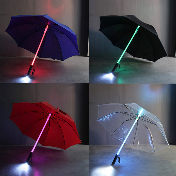 4-Colors Cool Fashion Light LED Flash Rod Shaft Safe Umbrella Night Dark Protection Children Kid Gift