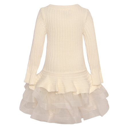 Bonnie Jean Bonnie Jean Little Girls Ivory Long Sleeve