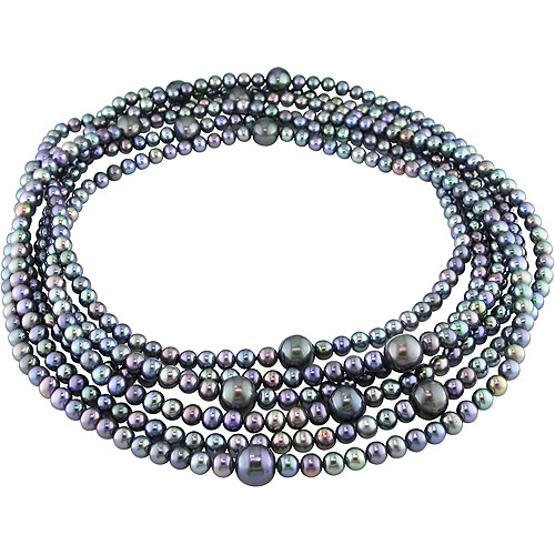 Freshwater Cultured Round 5-10mm Black Pearl Endless Necklace, 100""