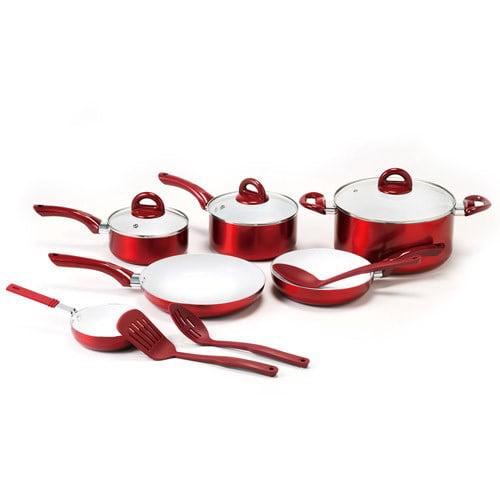 Mainstays Red Cookware Set, 12 Piece