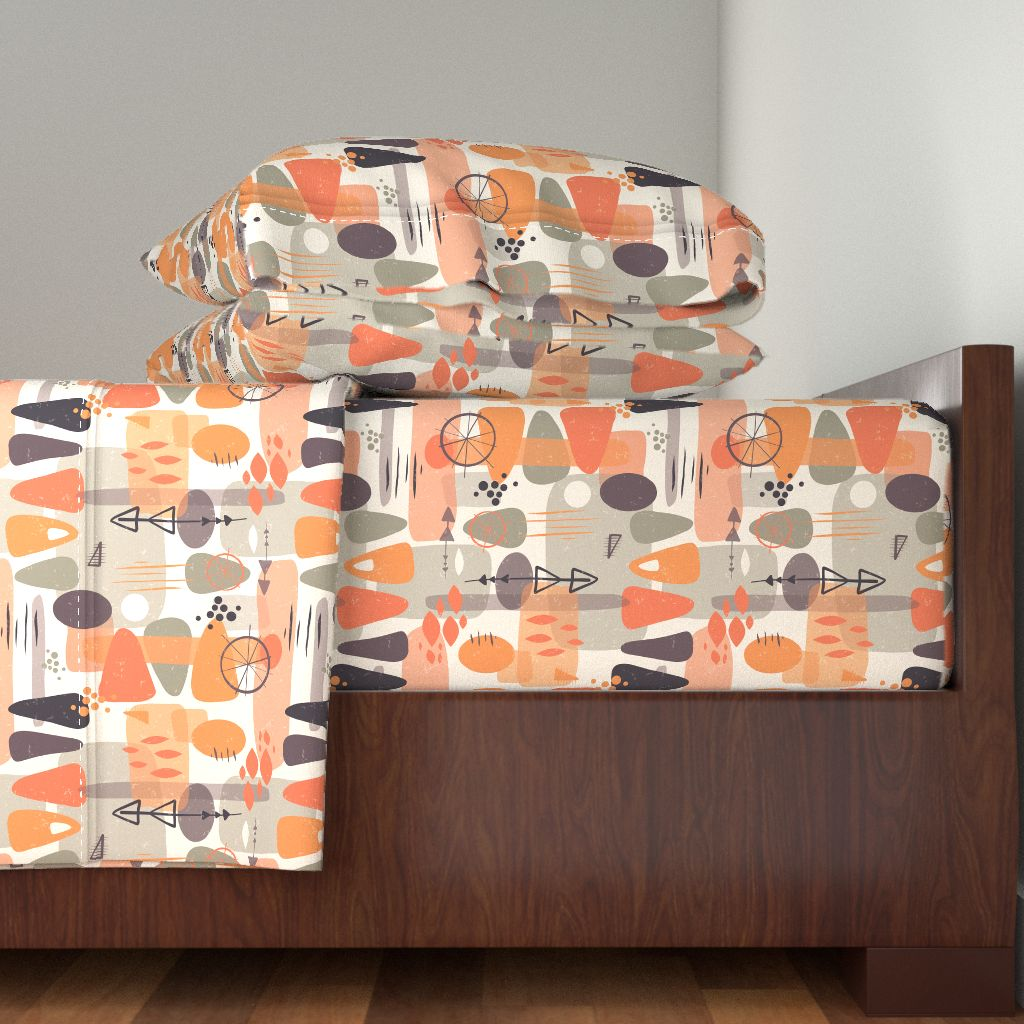 1950S Abstract Shapes Layer Coral 100% Cotton Sateen Sheet Set by Roostery