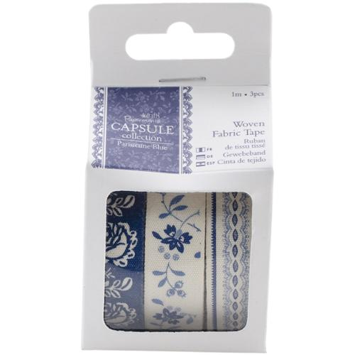 docrafts Papermania Parisienne Blue Fabric Tape-3 Styles/1m Each