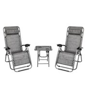 3pcs Folding Zero Gravity Chairs with Table, BTMWAY Portable Outdoor Lounge Foldable Chair with Headrest, Reclining Lawn Chair for Beach Patio Porch Lawn, 2Pcs Patio Chairs& Beverage Table, Gray, R075