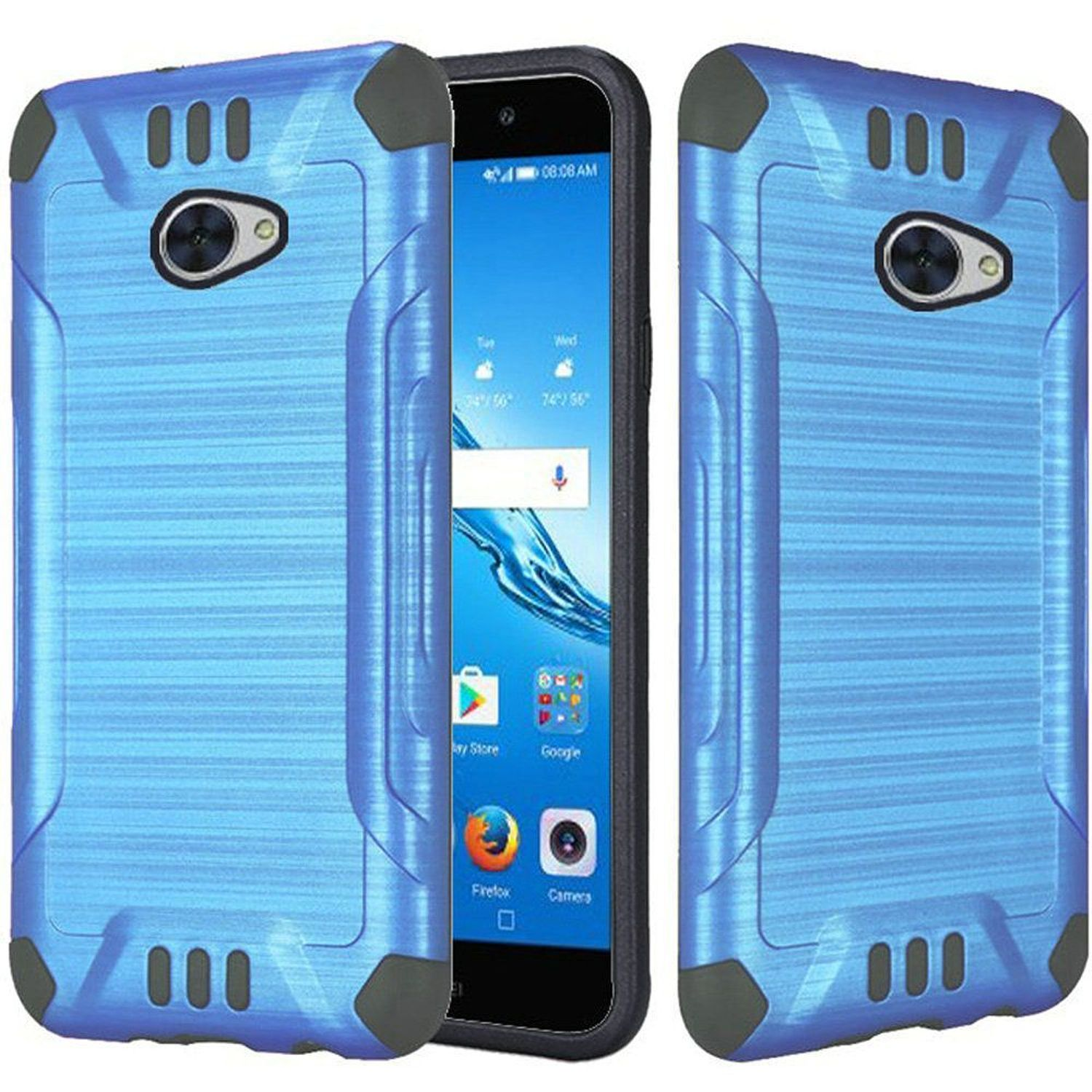 Huawei Ascend XT2 Case, by HR Wireless Slim Armor Dual Layer [Shock Absorbing] Hybrid Brushed Hard Plastic/Soft TPU Rubber Case Cover For Huawei Ascend XT2, Blue/Black