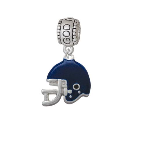Small Blue Football Helmet - God Mother Charm Bead