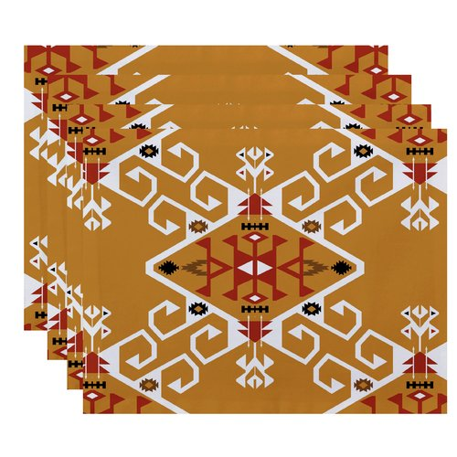 Bungalow Rose Meetinghouse Jodhpur Medallion Geometric Print Placemat (Set of 4)