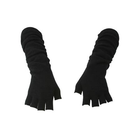 Long Sleeve Black Gloves (Wrinkle Design Long Fingerless Gloves,)