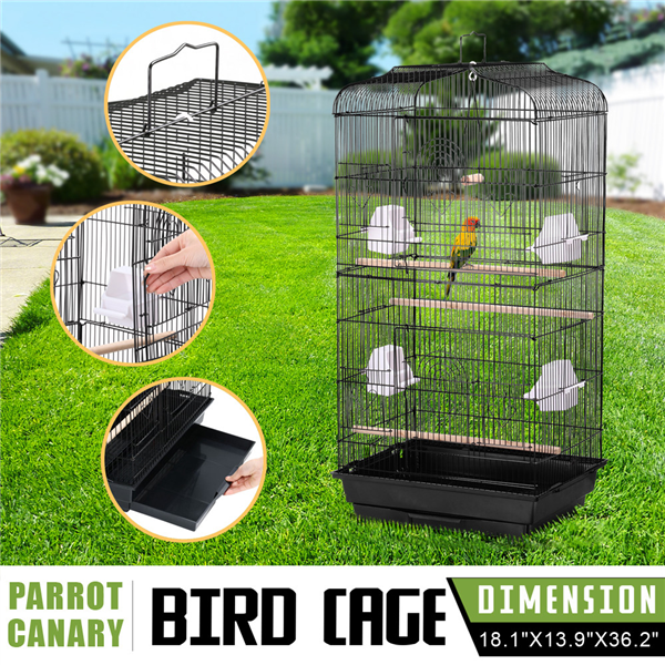 "Topeakmart 36"" Metal Bird Cage Parrot Finch Cage Macaw Cockatoo Pet Play w/Perch Stand Black"