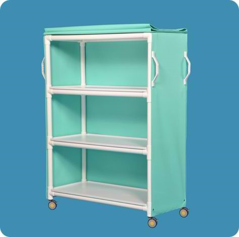 MRI Compatible Deluxe Linen Cart with Three Removable Shelves - MRILC463BM - Blue Mesh Cover