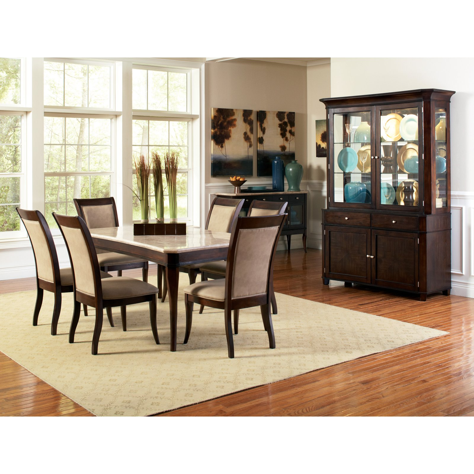 Steve Silver 7 Piece Marseille Marble Top Dining Table Set - Dark Cherry