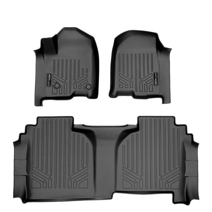 SMARTLINER Floor Mats 2 Row Liner Set Black for Crew Cab 2014-2018 Silverado//Sierra 1500-2015-2019 2500//3500 HD Maxliner A0136//B0136