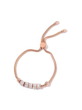 Shop LC White Crystal ION Plated Rose Gold Magic Bolo Bracelet for Women Adjustable