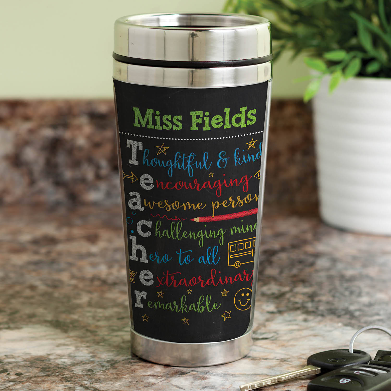 Colorful Teacher Gift - Personalized Teacher Travel Coffee Mug