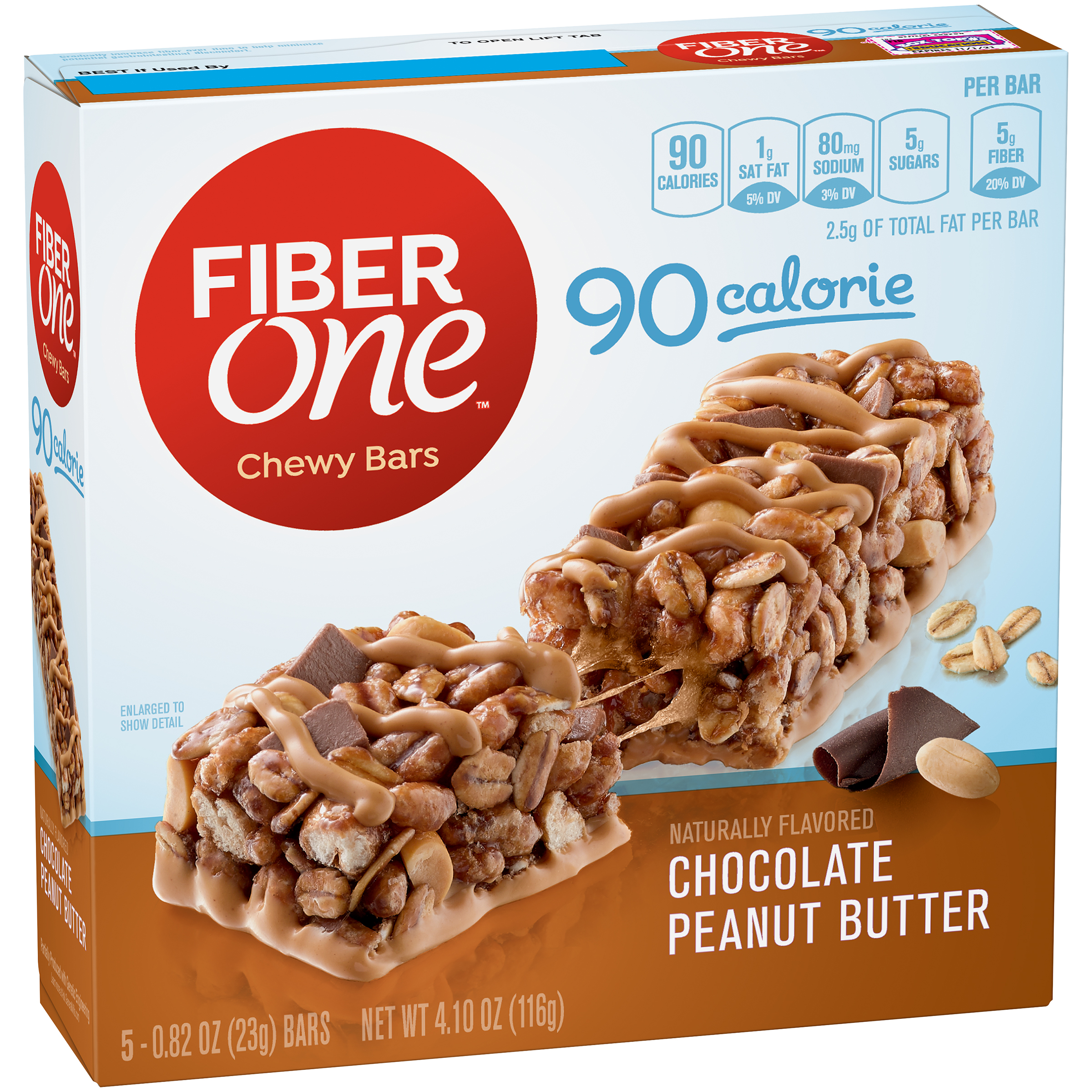 Fiber One 90 Calorie Bar Chocolate Peanut Butter 5 - 0.82 oz Bars
