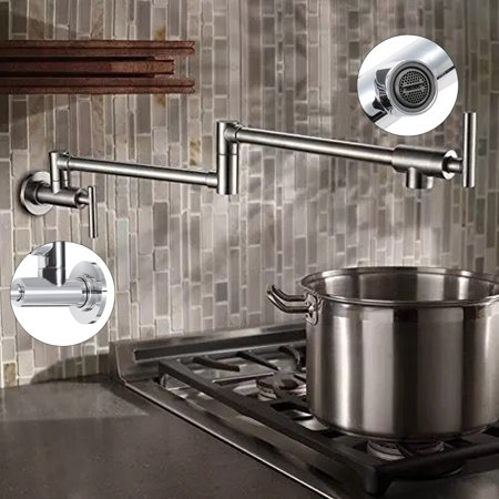 Solid Brass Double Handles Filler Kitchen Pot Faucet Wall Mount Swing Spout  Tap
