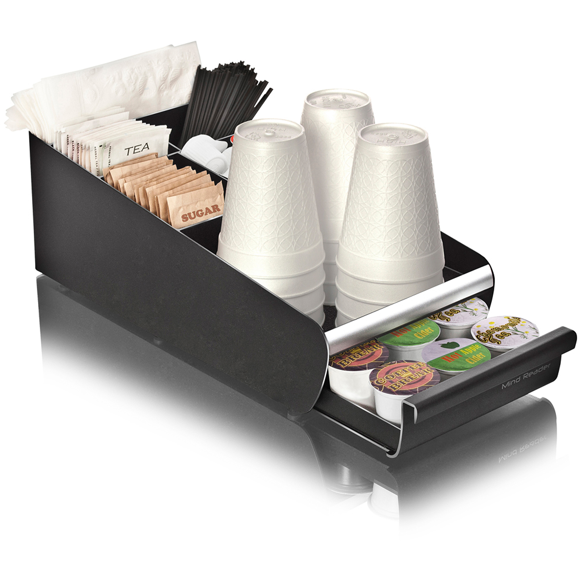 Mind Reader Coffee Condiment Storage Organizer with K-Cup Single Serve Coffee Pod Drawer, Black