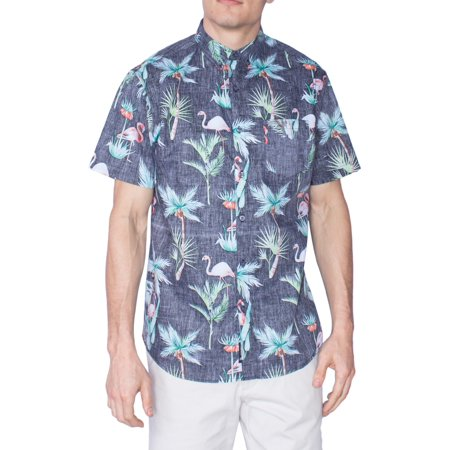 Flamingo Hawaiian Shirt Aloha Tropical Short Sleeve Button Down Up Shirts Black 4XL - Tropical Shirts