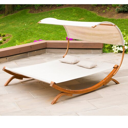 Leisure Season Sunbed with Canopy, Medium Brown