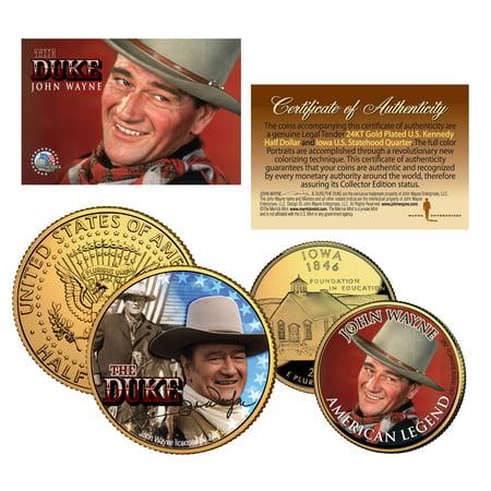 Iowa Quarters - JOHN WAYNE Iowa Quarter & JFK Half Dollar U.S. 2-Coin Set *OFFICIALLY LICENSED*
