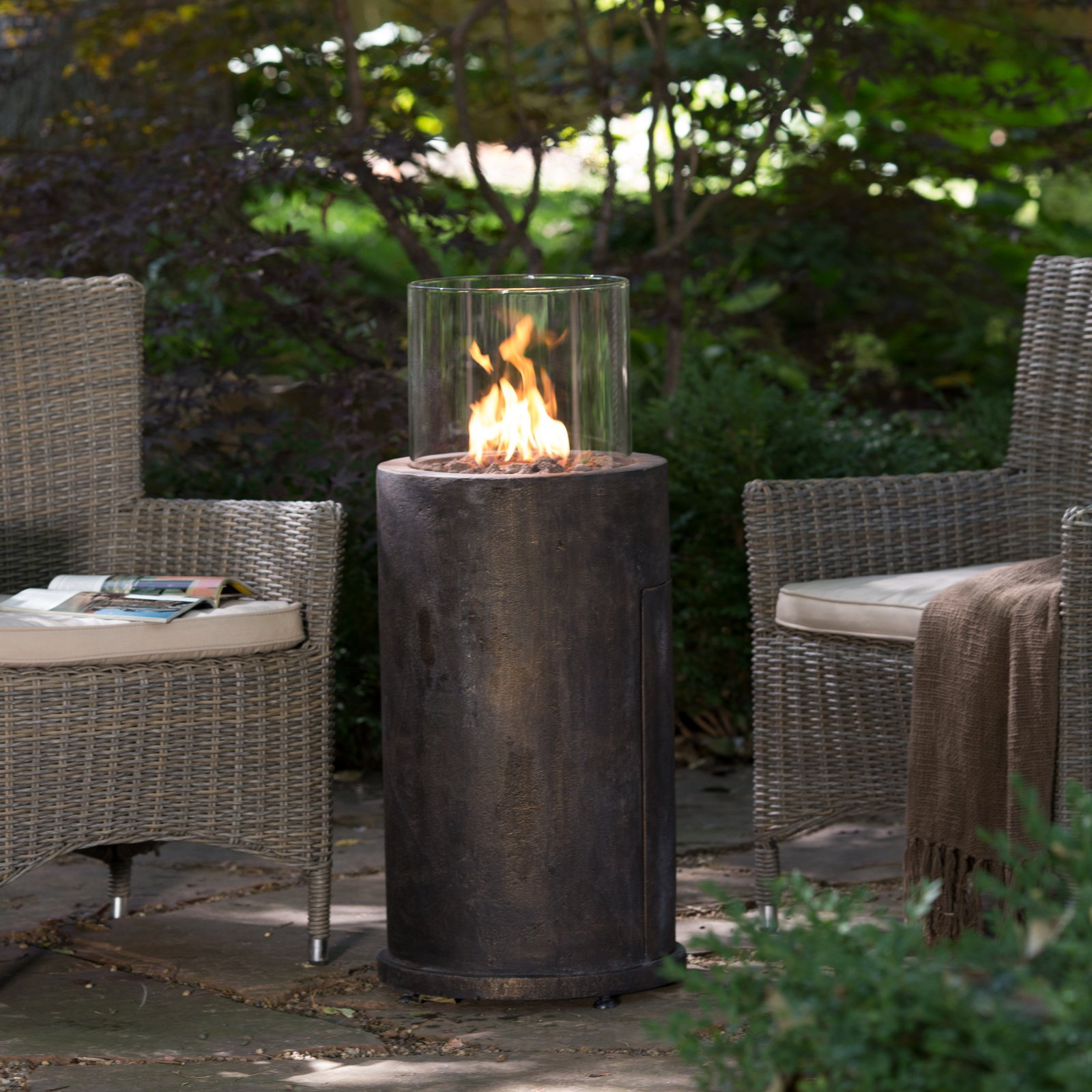 Red Ember Kona Gas Fire Column with FREE Cover