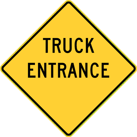 Traffic Signs - Truck entrance, Delaware and Texas 12 x 18 Peel-n-Stick Sign Street Weather Approved Sign (Texas Street Sign)