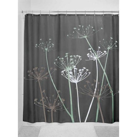 InterDesign Thistle Fabric Shower Curtain, Standard 72u0022 x 72u0022, Gray/Mint