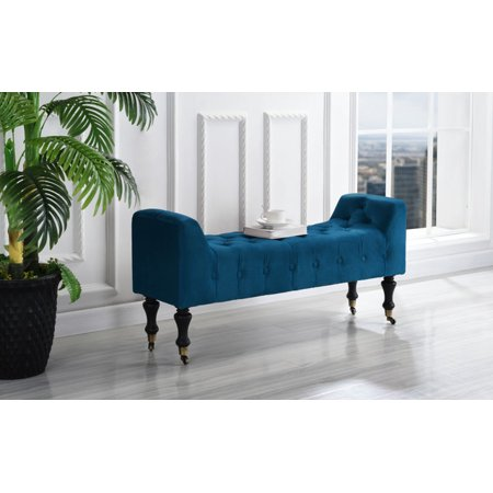 Traditional Rectangular Tufted Microfiber Footrest / Footstool / Ottoman with Casters, Navy (Micro Parent Console)
