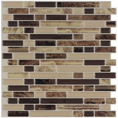 MTO0465 Peel and Stick Linear Brown Beige Khaki Glossy Vinyl Mosaic Tile
