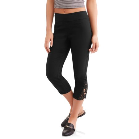 Women's Pull On Capri Pants with Lace Detail