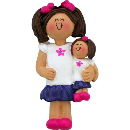 Child with Doll Female Brown Personalized  Christmas Ornament DO-IT-YOURSELF