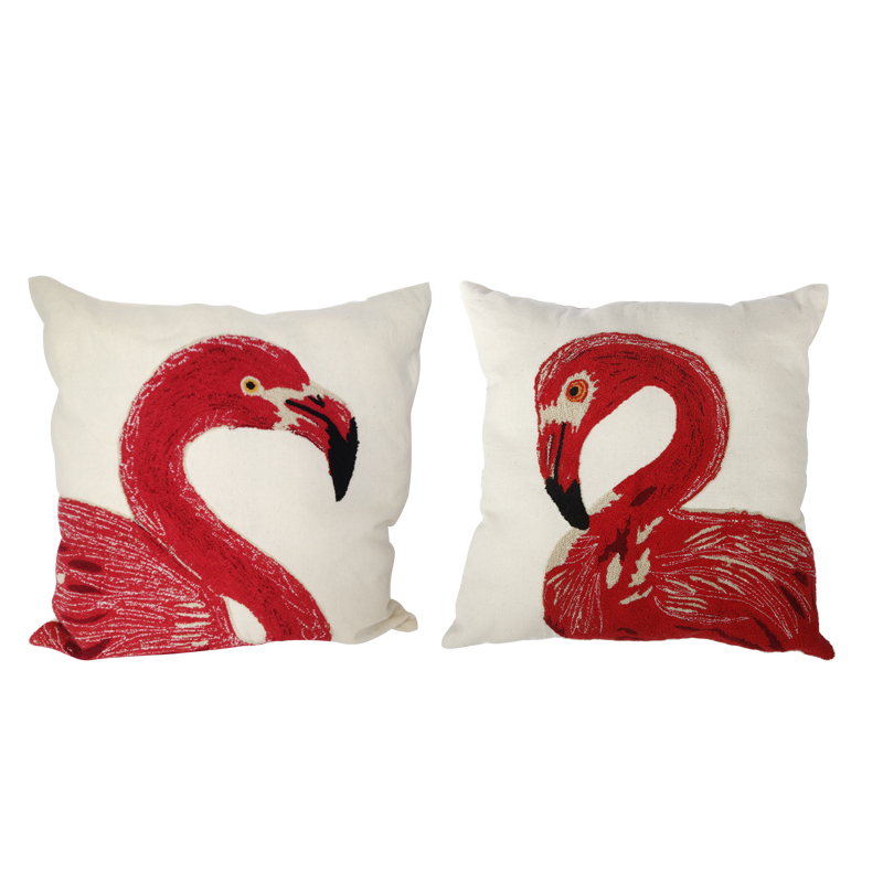 A&B Home Embroidered Flamingo Throw Pillows 24 by 24 Inch Set of
