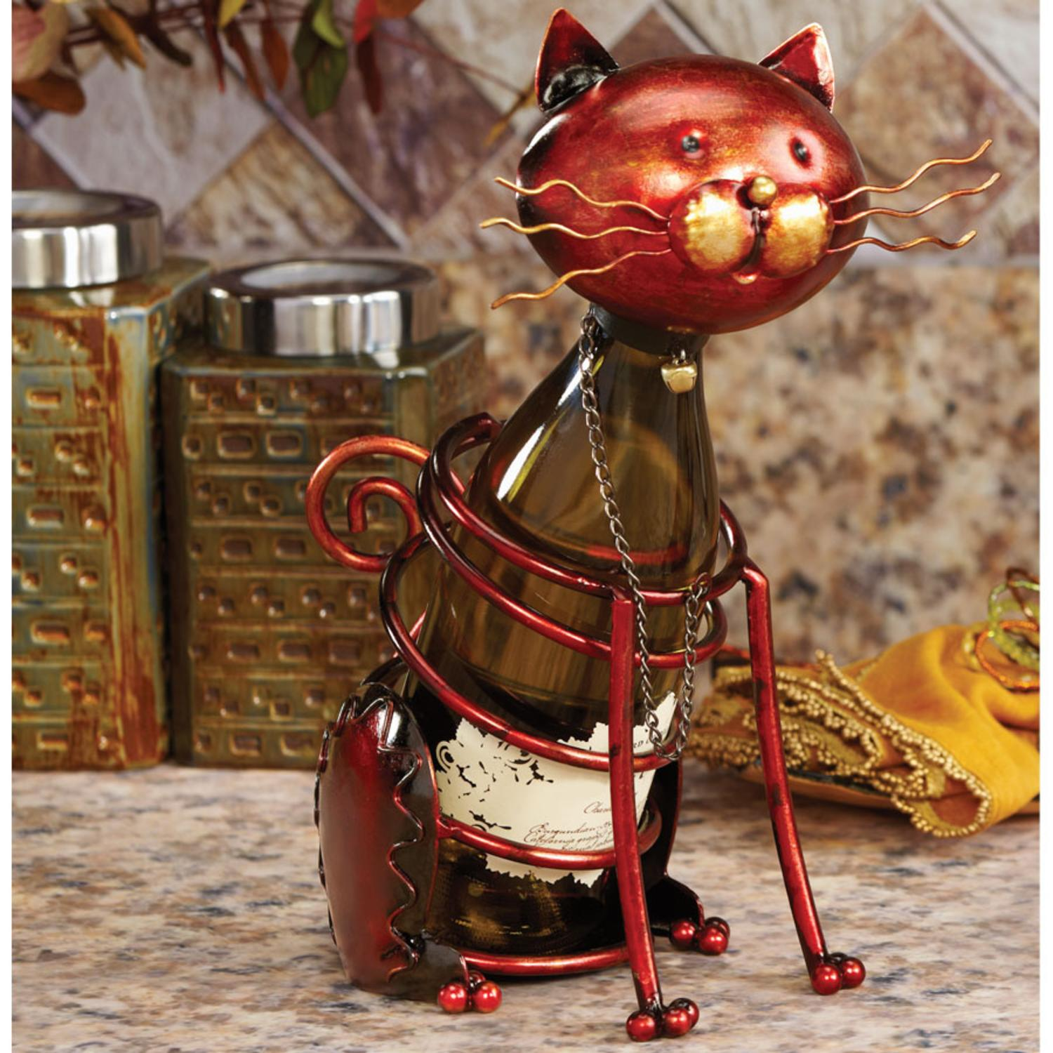 """CC Home 14"""" Hand Scuplted Wrought Iron Cat Table Top Wine..."""