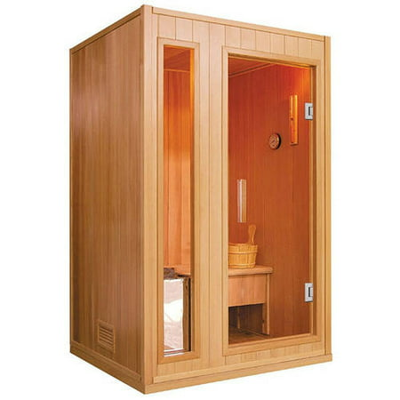aleko se2bega 2 person canadian hemlock wood indoor wet dry sauna with 3 kw etl electrical. Black Bedroom Furniture Sets. Home Design Ideas