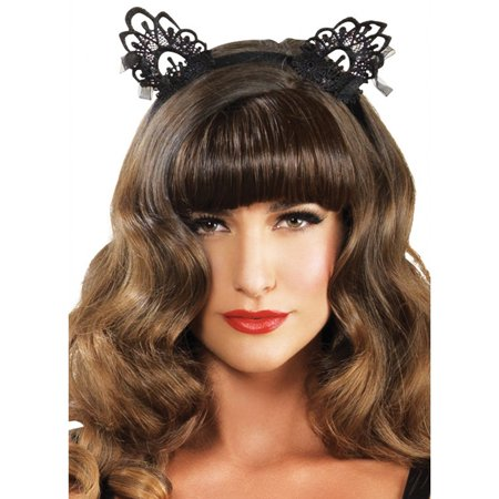 Venice Lace Cat Ears with Organza Bows](F-14 Halloween)