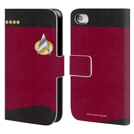 OFFICIAL STAR TREK UNIFORMS AND BADGES TNG LEATHER BOOK WALLET CASE COVER FOR APPLE IPHONE PHONES (Star Trek Tng Uniforms)