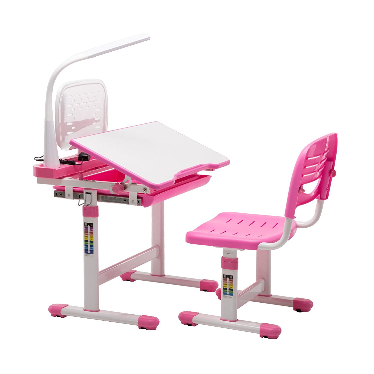 Mecor Multifunctional Children's Desk and Chair Set Adjustable Kids Work Station with Lamp & Storage & Bookstand Pink