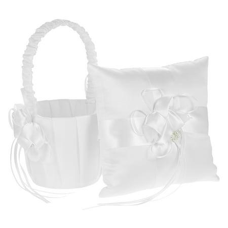 7 * 7 inches Ivory White Satin Flower Bowknot Ring Bearer Pillow and Wedding Flower Girl Basket
