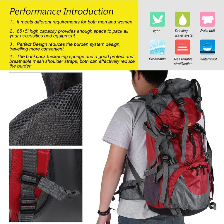 70L Hiking Camping Bag Travel Waterproof Mountaineering Pack Outdoor Backpack red by YKS