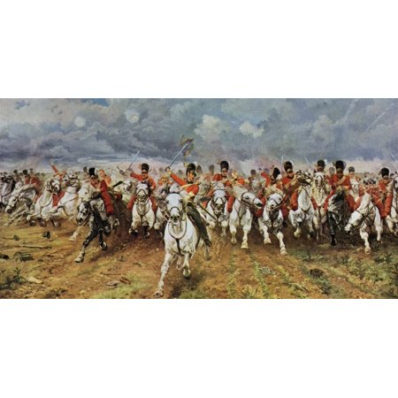 Scotland Forever The Royal Scots Greys Charge At Waterloo Painting By Lady Elizabeth Butler From The Worlds Greatest Paintings Published By Odhams Press London 1934 Poster Print (8 x 10)