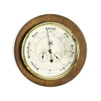 International Brass Barometer, Thermometer, and Hygrometer on Cherry Wood