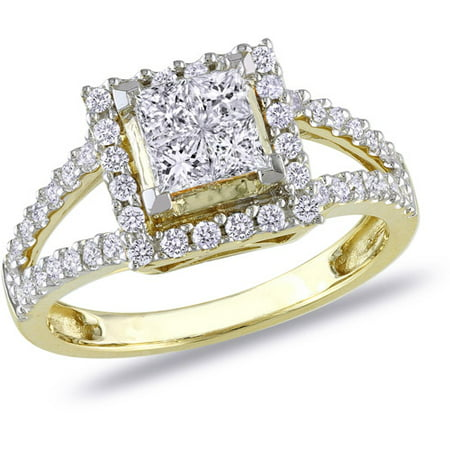 1 Carat T.W. Princess and Round-Cut Diamond 14kt Yellow Gold Halo Engagement Ring