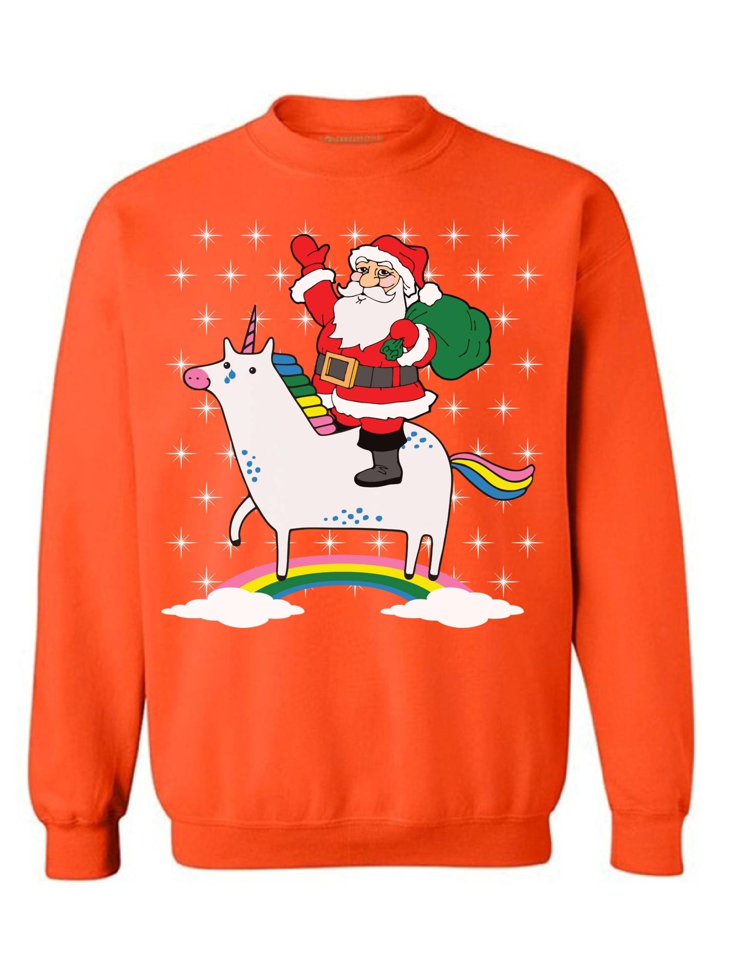 Awkward Styles Unicorn Santa Sweatshirt Cute Unicorn Santa Ugly Christmas Sweater for Women Xmas Unicorn Sweatshirt Funny Christmas Sweaters Christmas Rainbow Gifts for Unicorn Lovers Santa Sweater