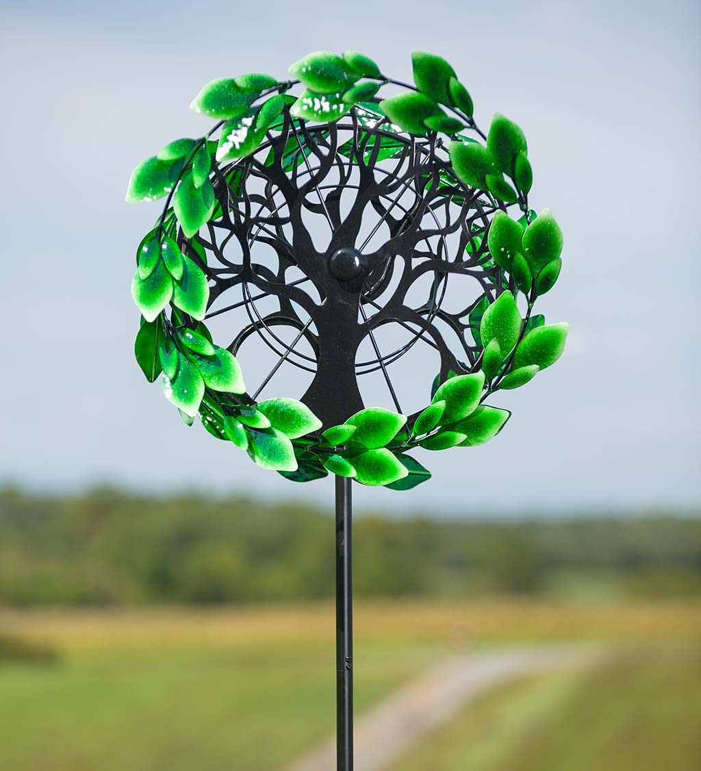 "Tree of Life Outdoor Garden Wind Spinner, 24""L x 16.14""W x 75""H by Plow & Hearth"
