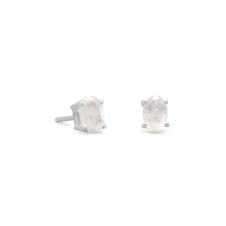Sterling Silver 4mm X 6mm Rainbow Moonstone Stud - Rainbow Moonstone Gemstone Earring