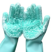 Cleaning Gloves, Reusable Magic Silicone Gloves with Wash Scrubber, Heat Resistant Cleaning Gloves for Kitchen,Car, Bathroom and Pet Hair Care,I5036