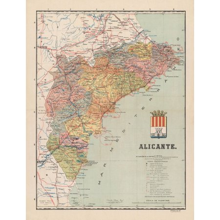 Alicante Map Of Spain.Old Spain Map Alicante Martin 1900 23 X 30