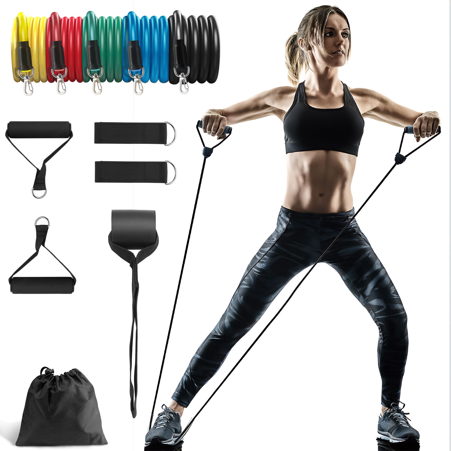 5PCS Exercise Bands Latex Resistance elastic Band-Pull Up Assist Fitness Gym