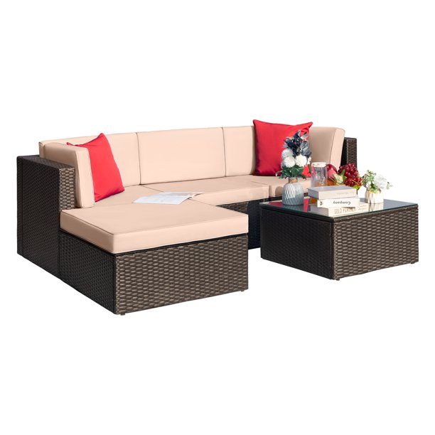 Walnew 5 Pieces Patio Sectional Set PE Rattan All-Weather Conversation Set with Table, Beige